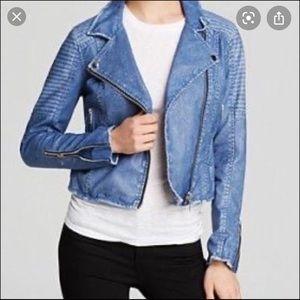 Blank NYC Blue Vegan Leather Moto Jacket 🏍